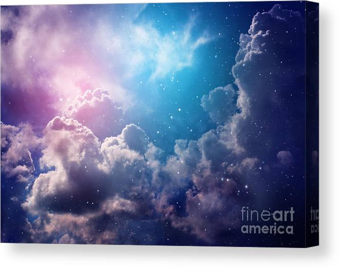 Cluster Canvas Print featuring the photograph Space Of Night Sky With Cloud And Stars by Nednapa