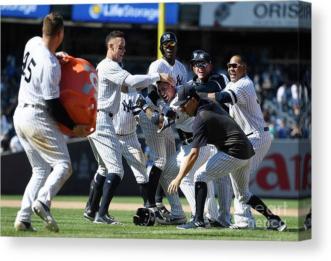 People Canvas Print featuring the photograph Toronto Blue Jays V New York Yankees by Sarah Stier