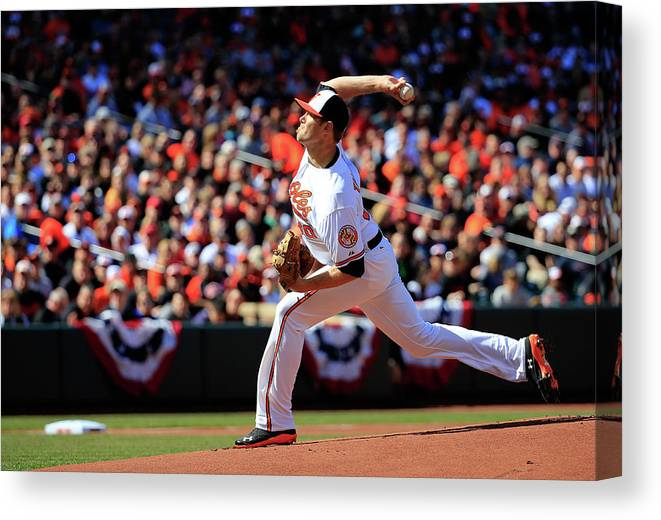 American League Baseball Canvas Print featuring the photograph Chris Tillman by Rob Carr