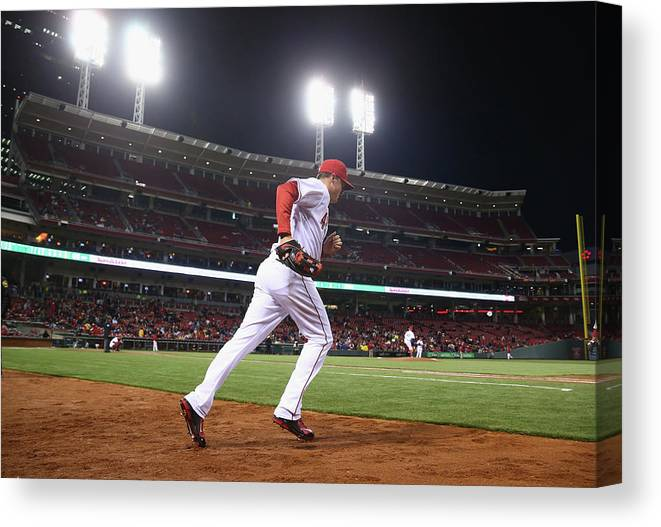 Great American Ball Park Canvas Print featuring the photograph Jay Bruce by Andy Lyons