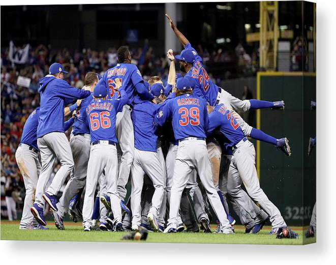 People Canvas Print featuring the photograph Anthony Rizzo, Kris Bryant, And Chris Coghlan by Ezra Shaw