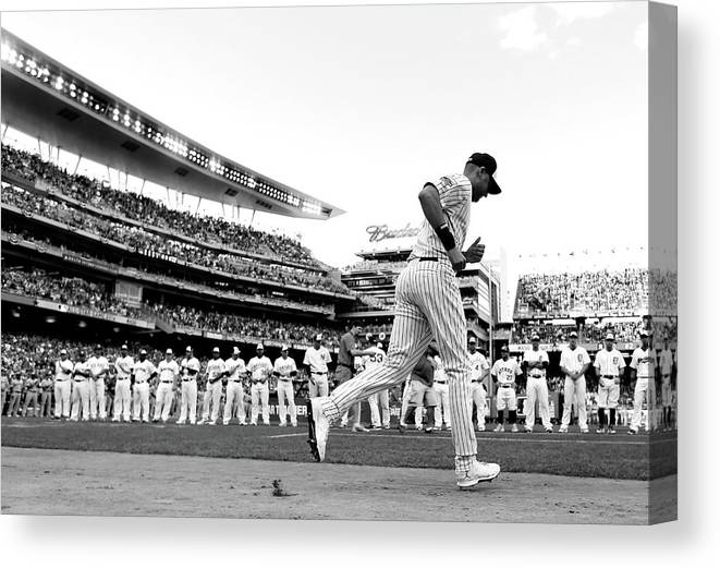 People Canvas Print featuring the photograph Derek Jeter by Rob Carr