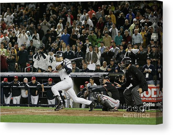 People Canvas Print featuring the photograph Derek Jeter by Mike Ehrmann