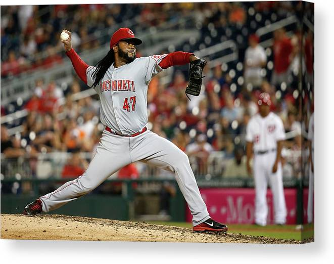 Ninth Inning Canvas Print featuring the photograph Johnny Cueto by Rob Carr