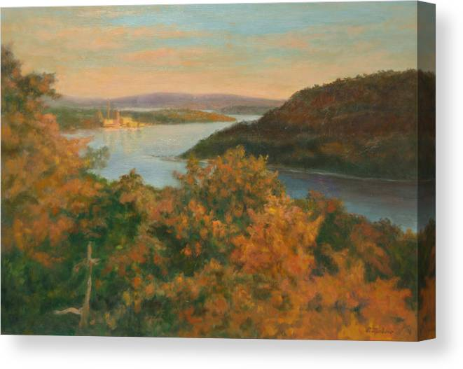 Landscape Canvas Print featuring the painting Autumn Hudson Highlands by Phyllis Tarlow