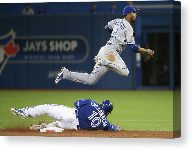 Double Play Canvas Print featuring the photograph Edwin Encarnacion And Alcides Escobar by Tom Szczerbowski