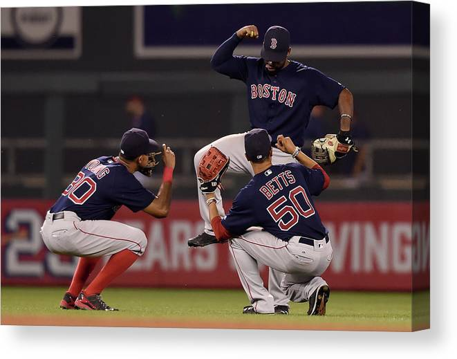 People Canvas Print featuring the photograph Jackie Bradley, Chris Young, And Mookie Betts by Hannah Foslien
