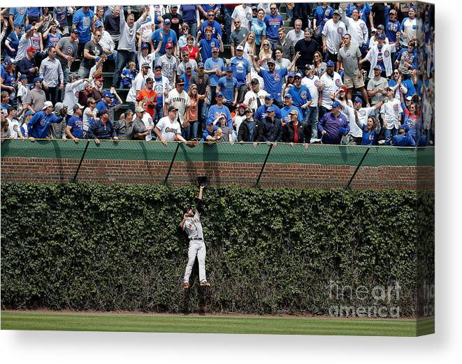 People Canvas Print featuring the photograph Mac Williamson And Kris Bryant by Jon Durr