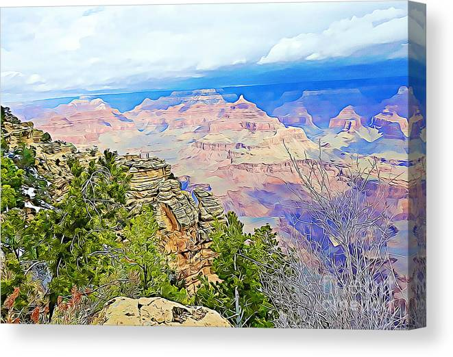 Grand Canyon Canvas Print featuring the mixed media Majestic Grand Canyon by Tracy Ruckman