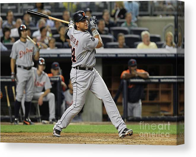 People Canvas Print featuring the photograph Miguel Cabrera by Nick Laham