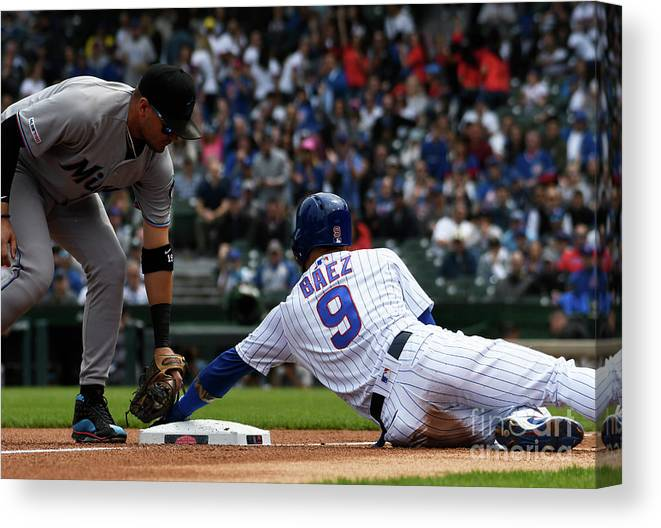 People Canvas Print featuring the photograph Miguel Rojas And Javier Baez by David Banks