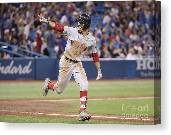 Ninth Inning Canvas Print featuring the photograph Mookie Betts by Tom Szczerbowski