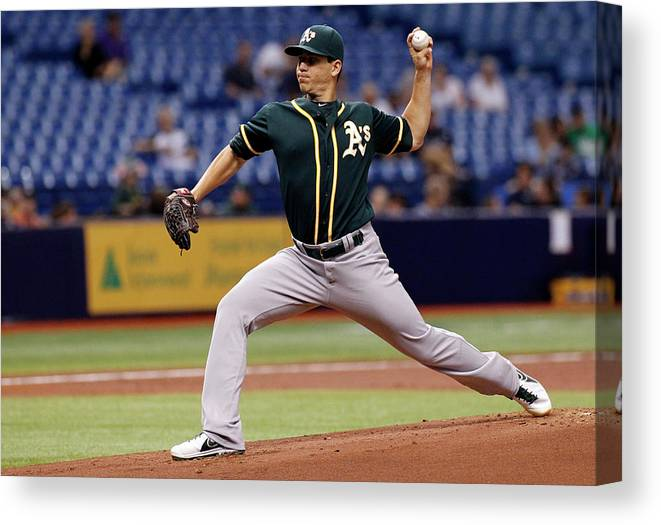 American League Baseball Canvas Print featuring the photograph Tommy Milone by Brian Blanco