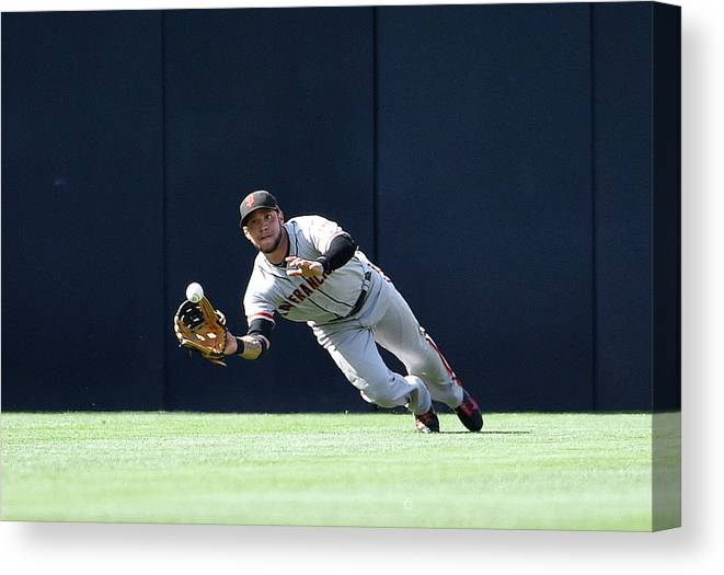 Ball Canvas Print featuring the photograph Will Venable And Gregor Blanco by Denis Poroy