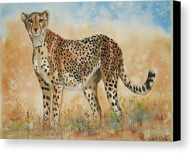 Cheetah Canvas Print featuring the painting Cheetah by Gina Hall