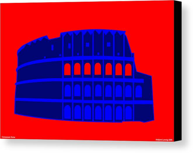 Colosseum Canvas Print featuring the digital art Colosseum by Asbjorn Lonvig