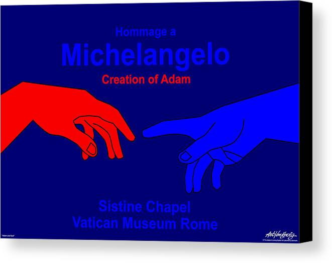 Michelangelo Canvas Print featuring the digital art Hommage A Michelangelo by Asbjorn Lonvig