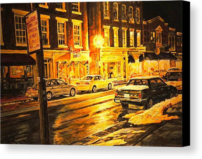 Street Scene Canvas Print featuring the painting Lexington Street Light by Thomas Akers