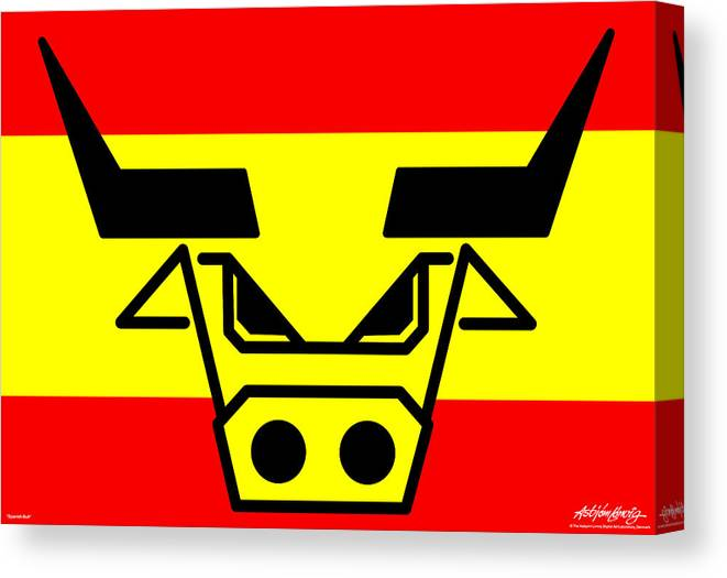 Spanish Bull Canvas Print featuring the digital art Spanish Bull by Asbjorn Lonvig
