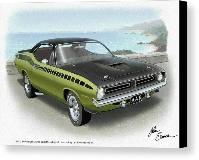 1970 Barracuda Aar Cuda Muscle Car Sketch Rendering Canvas Print