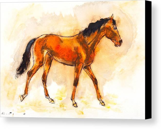 Horse Canvas Print featuring the painting Horse Portrait by Kurt Tessmann