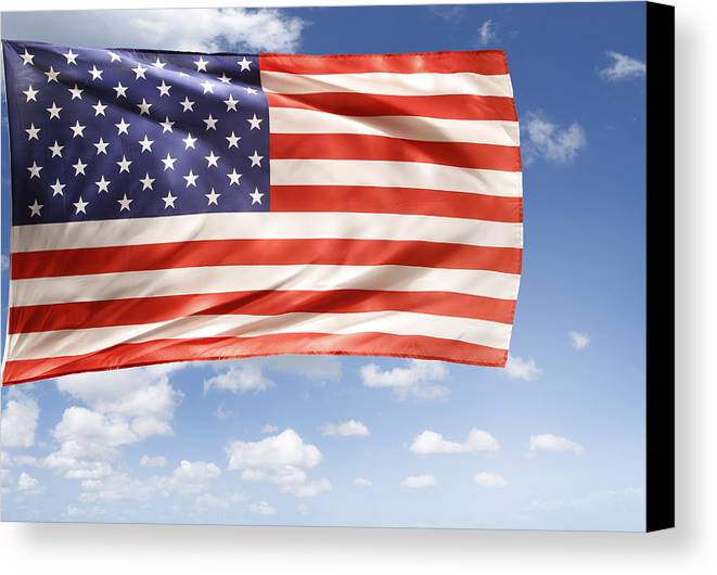 Independence Day Canvas Print featuring the photograph American Flag by Les Cunliffe