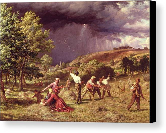Storm Canvas Print featuring the painting A Thunder Shower, 1859 by James Thomas Linnell