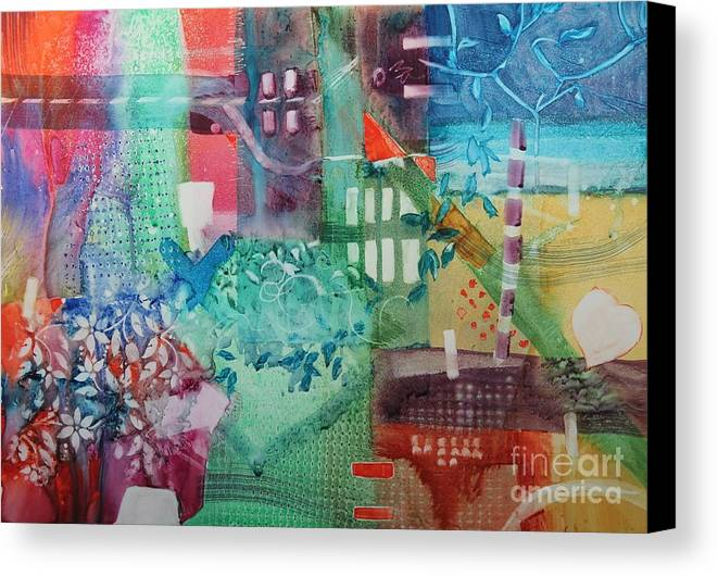 Abstract Canvas Print featuring the painting A Spring Walk In The Park  by Elizabeth Carr
