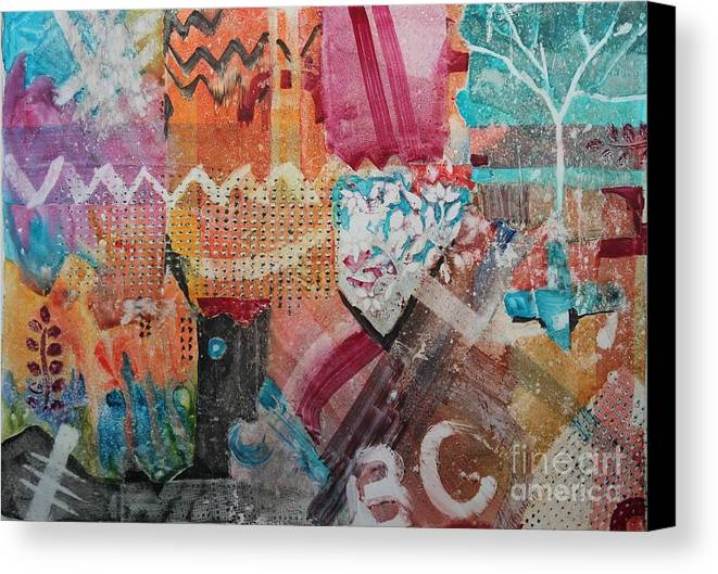 Abstract Canvas Print featuring the painting A Winter Walk In The Park by Elizabeth Carr