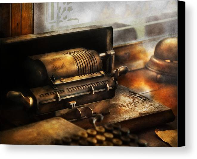 Suburbanscenes Canvas Print featuring the photograph Accountant - The Adding Machine by Mike Savad