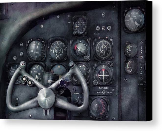 Suburbanscenes Canvas Print featuring the photograph Air - The Cockpit by Mike Savad