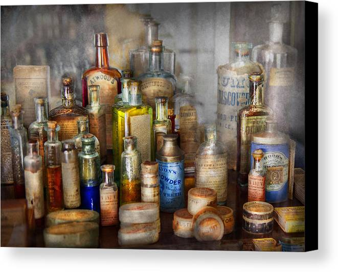 Pharmacy Canvas Print featuring the photograph Apothecary - For All Your Aches And Pains by Mike Savad