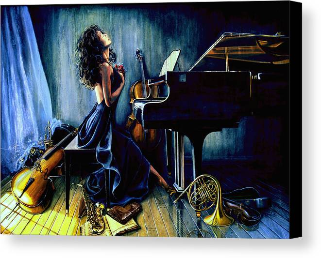 Musical Instrument Still Life Canvas Print featuring the painting Appassionato by Hanne Lore Koehler