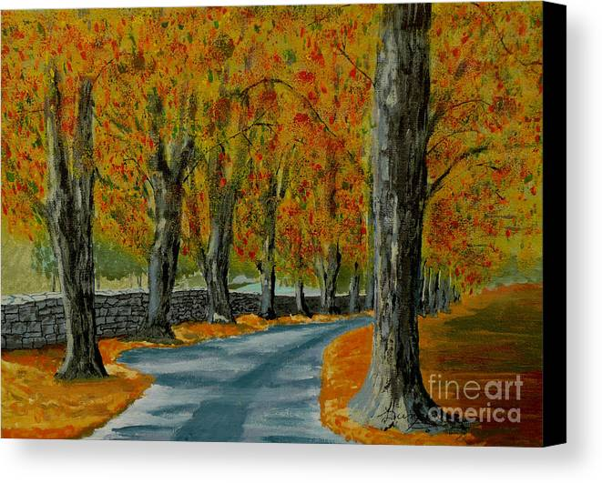 Autumn Canvas Print featuring the painting Autumn Pathway by Anthony Dunphy
