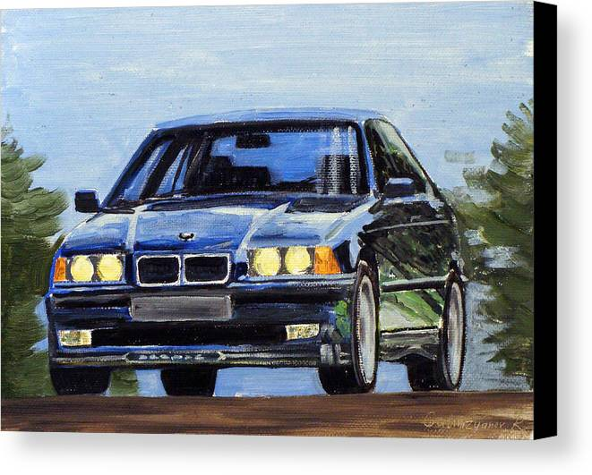 Auto Canvas Print featuring the painting Bmw E36 by Ildus Galimzyanov
