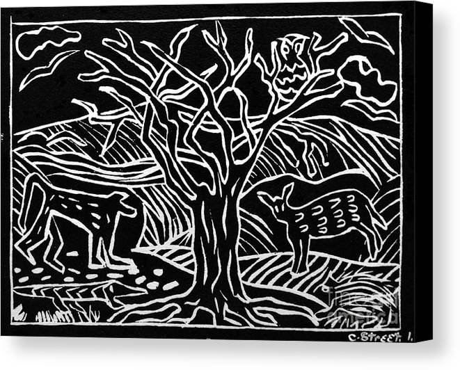 Lino Print Canvas Print featuring the relief Bushveld Indaba by Caroline Street