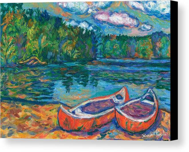 Landscape Canvas Print featuring the painting Canoes At Mountain Lake Sketch by Kendall Kessler