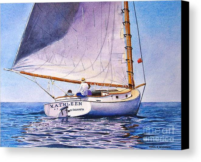 Sail Canvas Print featuring the painting Cape Cod Catboat by Karol Wyckoff