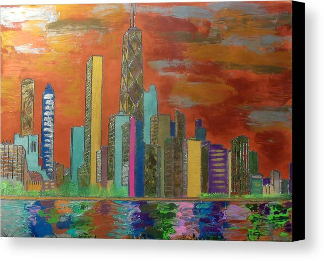 Chicago Canvas Print featuring the painting Chicago Metallic Skyline by Char Swift