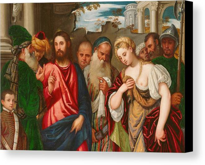 Son Of God Canvas Print featuring the painting Christ And The Woman Taken In Adultery by Veronese