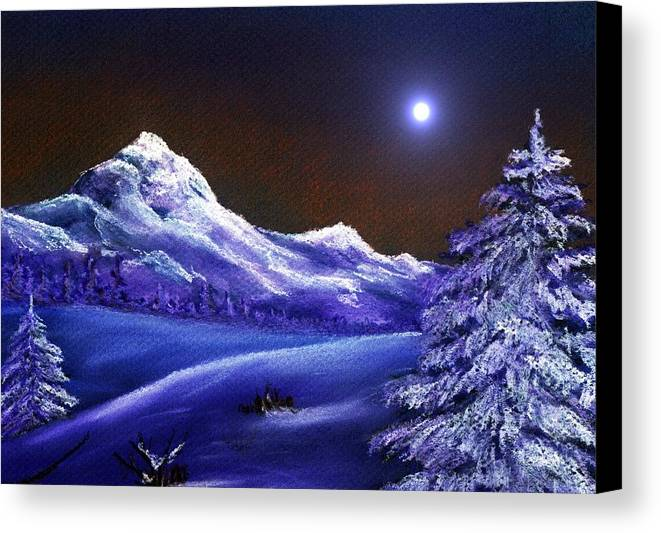 Moon Canvas Print featuring the painting Cold Night by Anastasiya Malakhova