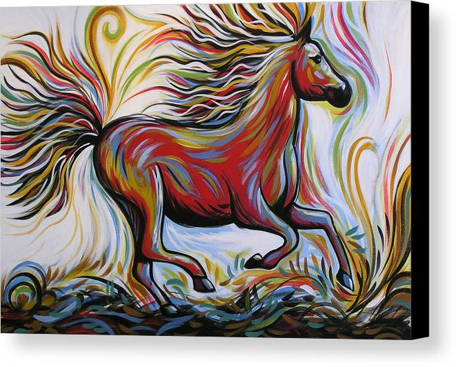 Horse Print Canvas Print featuring the painting Crimson Lightning by Amy Giacomelli