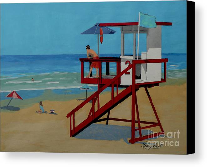 Lifeguard Canvas Print featuring the painting Distracted Lifeguard by Anthony Dunphy
