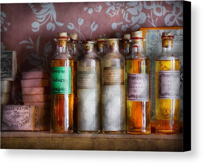 Suburbanscenes Canvas Print featuring the photograph Doctor - Perfume - Soap And Cologne by Mike Savad