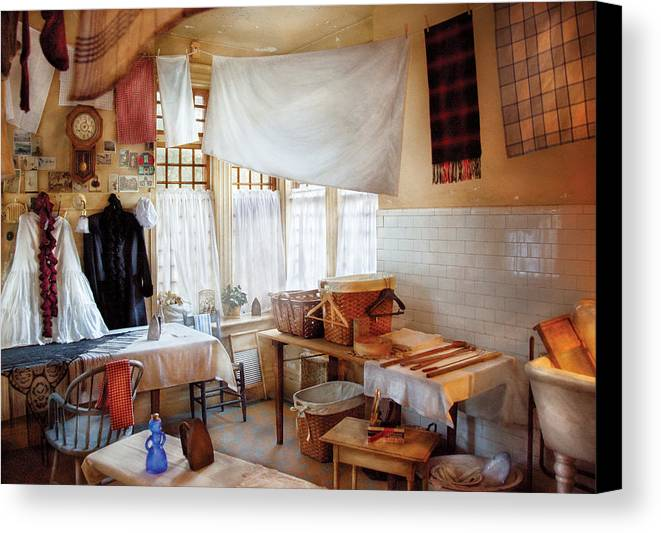 Laundry Canvas Print featuring the photograph Dry Cleaner - The Laundry Room by Mike Savad