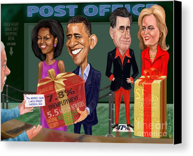 Obama Canvas Print featuring the digital art Early X-mas Gift by Fred Makubuya