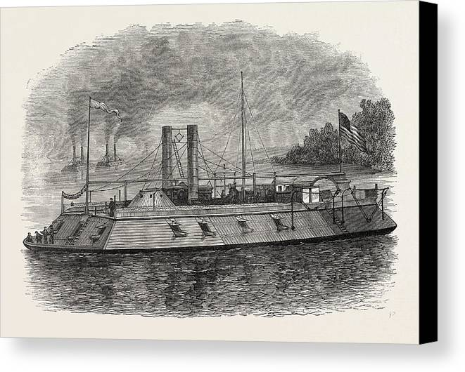 Federal Canvas Print featuring the drawing Federal Iron-clad River Gunboat, American Civil War by American School