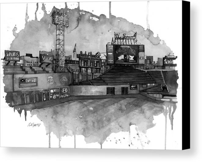 Fenway Canvas Print featuring the painting Fenway Bw by Michael Pattison