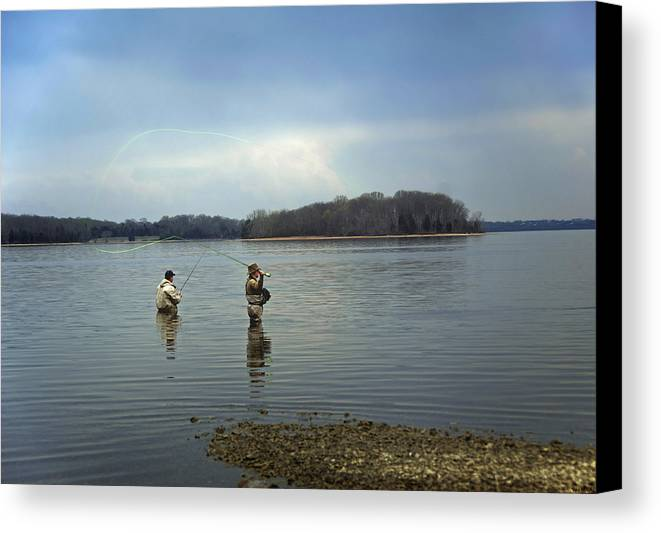 Fly Fishing Canvas Print featuring the photograph Fly Fishing by Steven Michael