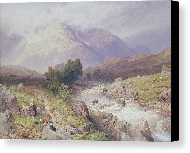 Landscape Canvas Print featuring the painting Highland Scene Near Dalmally Argyll by Myles Birket Foster